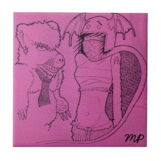 Rosa Geist-Mädchen und verärgerter Bär Fliese