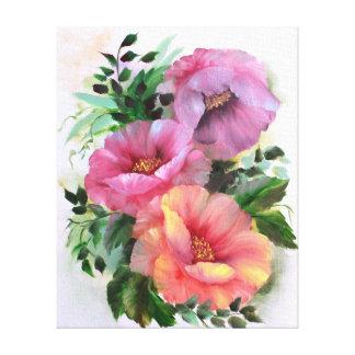 Rosa gelb-orangee Mohnblumen mit Blumen Leinwanddruck