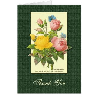 Rosa gelbe botanische Rosen danken Ihnen zu Karte