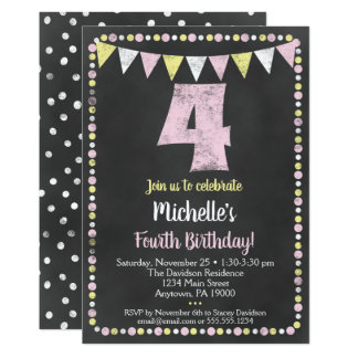 Rosa gelbe Tafel-4. Geburtstags-Einladung Karte