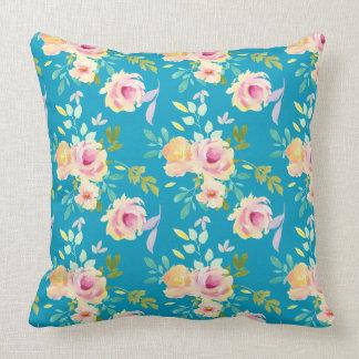 Rosa gelbe Watercolor-Blumen aquamarin Kissen