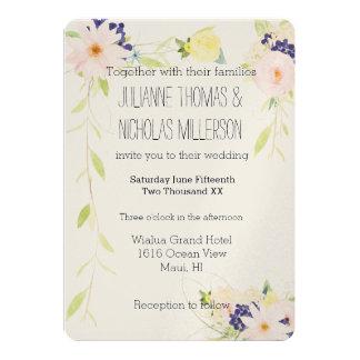 Rosa gelbes Aquarell-Blumenhochzeit 12,7 X 17,8 Cm Einladungskarte