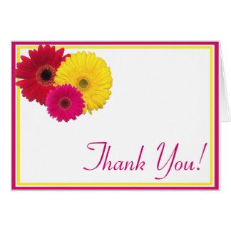 Rosa gelbes rotes Gerbera-Gänseblümchen danken Karte