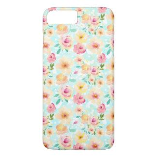 Rosa gelbes tadelloses Aquarell mit Blumen iPhone 8 Plus/7 Plus Hülle