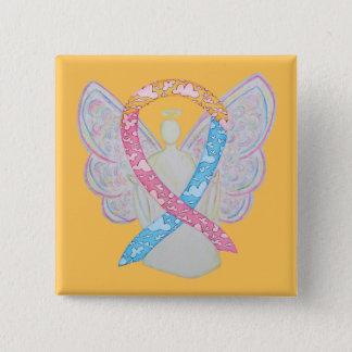 Rosa, Gelbes und Engels-Button der Blau-Wolken-CDH Quadratischer Button 5,1 Cm