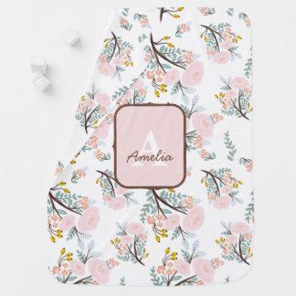 Rosa gemusterte Baby-Mädchen-mit Blumendecke Baby-Decken