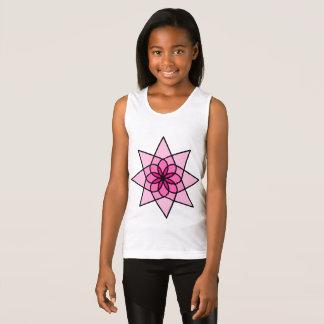 Rosa geometrische Blumen-Mädchen-Behälter-Spitze Tank Top