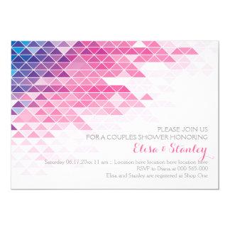 Rosa geometrische Dreiecke, die Paardusche wedding 12,7 X 17,8 Cm Einladungskarte