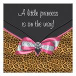 Rosa Gepard-Prinzessin Babyparty Personalisierte Ankündigungskarten