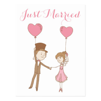 Rosa-gerade verheiratete Braut-u. Postkarte