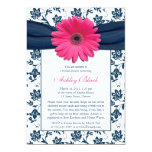 Rosa Gerber Marine-Damast-Brautparty-Einladung
