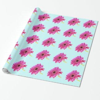 Rosa Gerbera-Gänseblümchen auf blauem Hintergrund Geschenkpapier