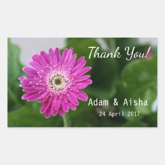 Rosa Gerbera-Gänseblümchen danken Ihnen Hochzeit Rechteckiger Aufkleber