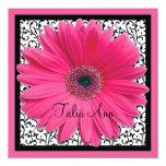 Rosa Gerbera-Gänseblümchen-Schläger Mitzvah Individuelle Einladungskarten