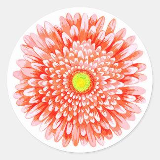 Rosa Gerbera-kleiner runder Mattaufkleber Runder Aufkleber