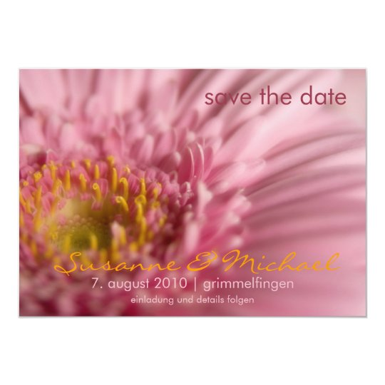 Rosa Gerbera • Save the Date Karte 12,7 X 17,8 Cm Einladungskarte
