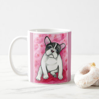 Rosa gescheckte Tasse der französischen Bulldogge