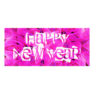 Rosa Gestellkarte des guten Rutsch ins Neue Jahr Werbekarte