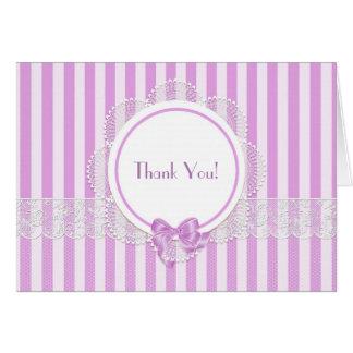 Rosa gestreifte Spitze danken Ihnen Mitteilungskarte