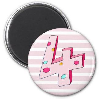 Rosa gestreifter Geburtstags-Magnet des Runder Magnet 5,7 Cm