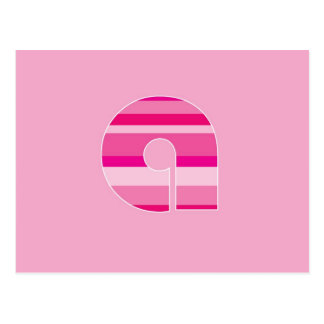 Rosa gestreiftes Monogramm - beschriften Sie A Postkarte