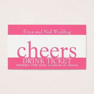 Rosa Getränk-Bar-Karte für die Wedding Empfänge Visitenkarte
