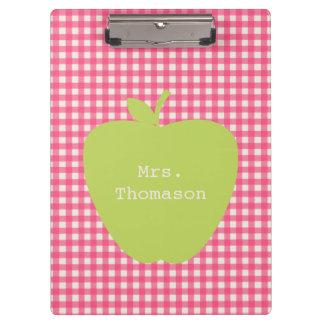 Rosa Gingham-Grün-Apple-Lehrer-Klemmbrett