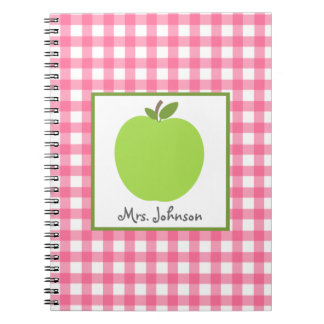 Rosa Gingham-Grün-Apple-Lehrer-Notizbuch