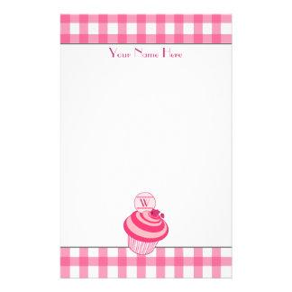 Rosa Gingham-/Himbeerkuchen-Briefpapier Briefpapier