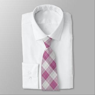 Rosa Gingham-Karo - diagonales Muster Krawatte