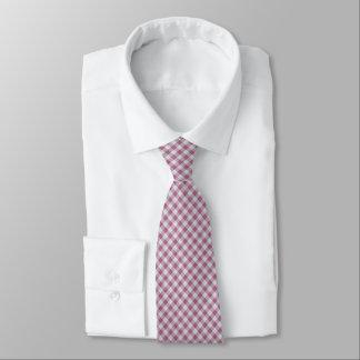 Rosa Gingham-kleiner Karo - diagonales Muster Krawatte