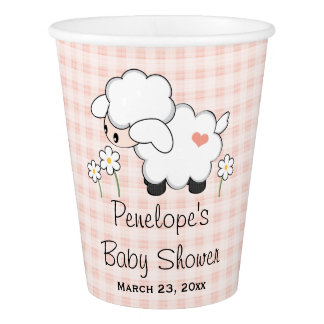 Rosa Gingham-Lamm-Babyparty Pappbecher