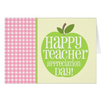 Rosa Gingham Lehrer-Anerkennungs-Tagesgrün-Apples Grußkarte