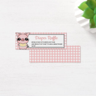 Pink Gingham Piggy Baby Shower Diaper Raffle