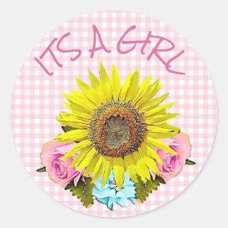 Rosa Gingham-Sonnenblume BABYPARTY Aufkleber