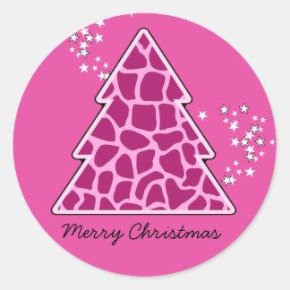 Rosa Giraffe Weihnachtsbaum Runder Aufkleber