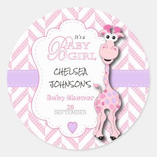 Rosa Giraffen-Babyparty Runder Aufkleber