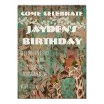 Rosa-Giraffen-Damast-Geburtstags-Einladung 14 X 19,5 Cm Einladungskarte