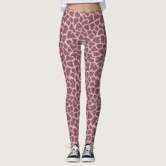 Rosa Giraffen-Druck-Gamaschen Leggings