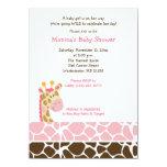 Rosa Giraffen-Dschungel-Safari-Babyparty-Einladung