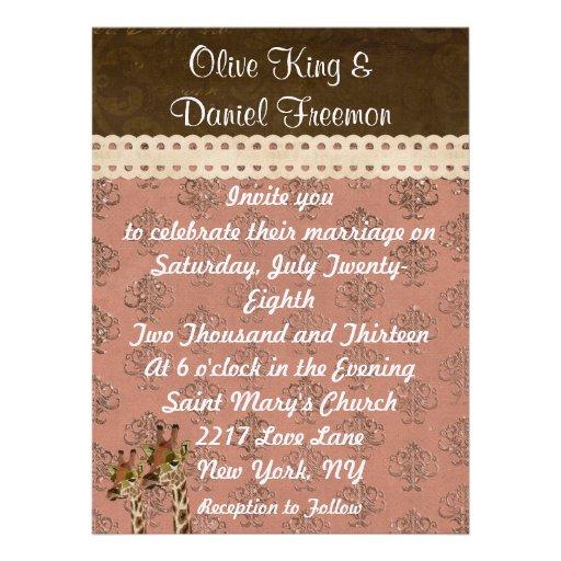 Rosa-Giraffen-Rosa-schillernde Hochzeits-Einladung