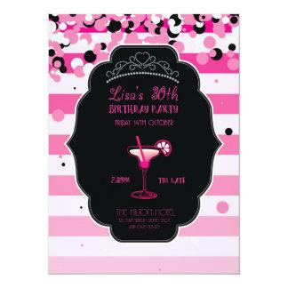 Rosa - Girly - Erwachsener - Geburtstags-Party 14 X 19,5 Cm Einladungskarte