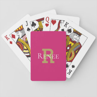 Rosa Girly nobles Name-Monogramm Trendy Spielkarten