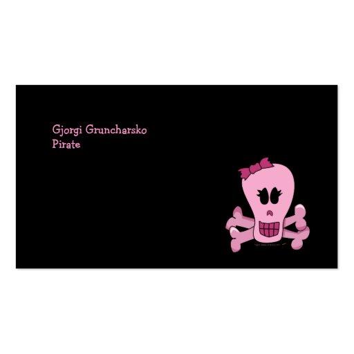 Rosa Girly Schädel mit Bogen Halloween oder Visitenkarte