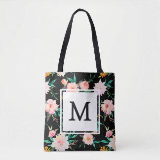 Rosa Girly Trendy Schwarz-weißer BlumenWatercolor Tasche