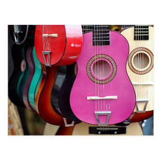 Rosa Gitarre Postkarte