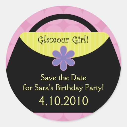 Rosa Glamour-Party-Aufkleber