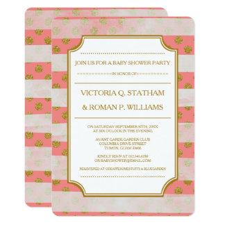 Rosa Glamour-Streifen-Baby-Dusche lädt ein Karte