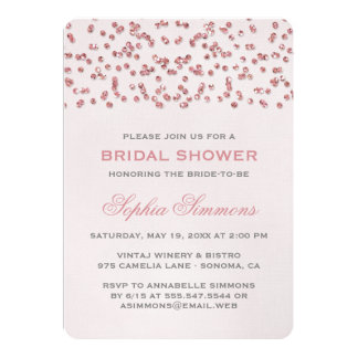 Rosa Glitter-Blickconfetti-Brautparty laden ein Ankündigungskarten