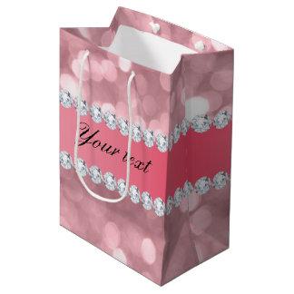 Rosa Glitter Bokeh und Diamanten personalisiert Mittlere Geschenktüte